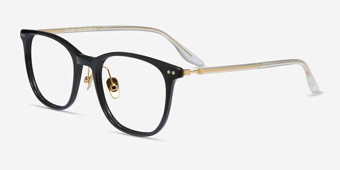 Follow Gray Striped Acetate Eyeglass Frames from EyeBuyDirect, Angle View