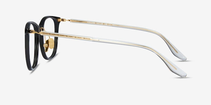 Follow Gray Striped Acetate Eyeglass Frames from EyeBuyDirect, Side View
