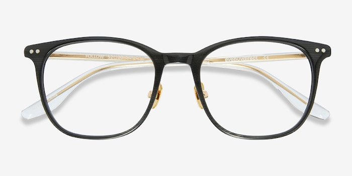 Follow Gray Striped Acetate Eyeglass Frames from EyeBuyDirect, Closed View