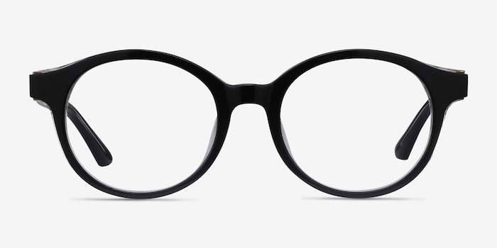 Amata Black Acetate Eyeglass Frames from EyeBuyDirect, Front View