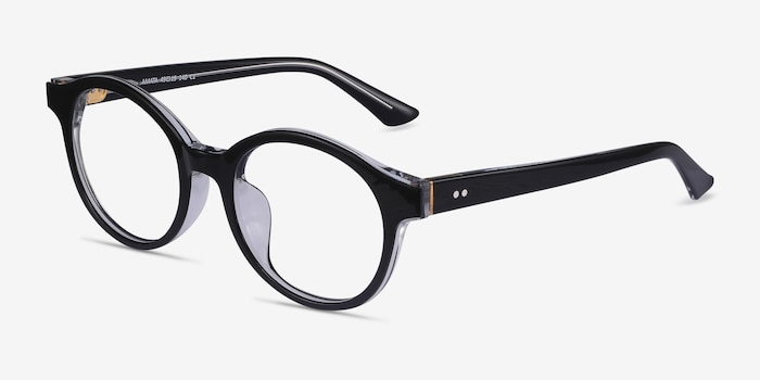 Amata Black Acetate Eyeglass Frames from EyeBuyDirect, Angle View