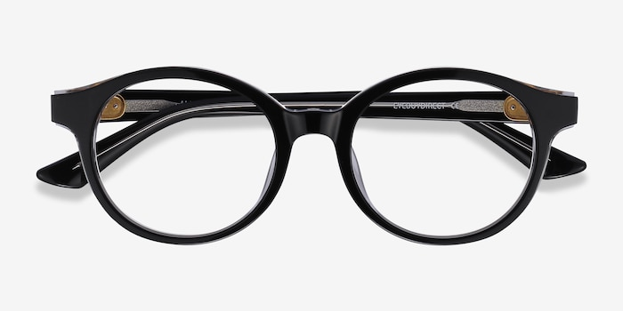 Amata Black Acetate Eyeglass Frames from EyeBuyDirect, Closed View