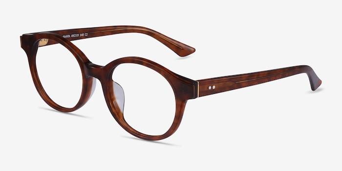 Amata Brown Acetate Eyeglass Frames from EyeBuyDirect, Angle View