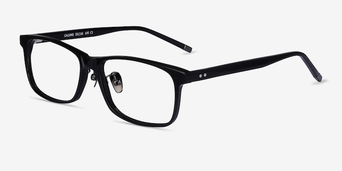 Calling Black Acetate Eyeglass Frames from EyeBuyDirect, Angle View