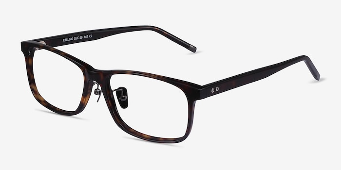 Calling Tortoise Acetate Eyeglass Frames from EyeBuyDirect, Angle View
