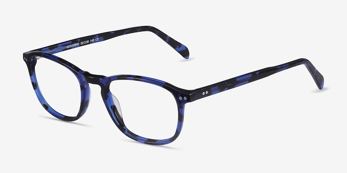 Socorro Blue Tortoise Acetate Eyeglass Frames from EyeBuyDirect, Angle View