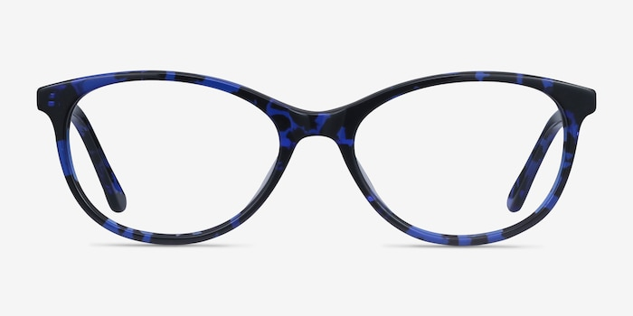 Depth Blue Floral Acetate Eyeglass Frames from EyeBuyDirect, Front View