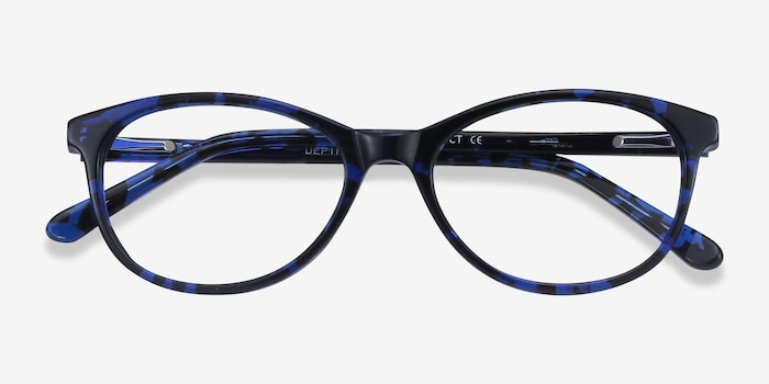 Depth Blue Floral Acetate Eyeglass Frames from EyeBuyDirect, Closed View