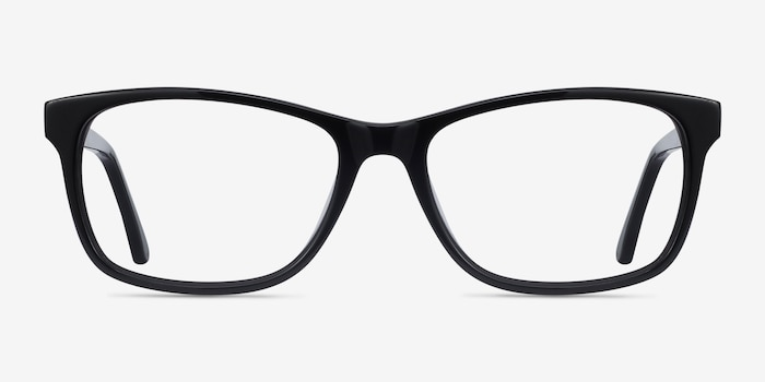Annett Black Acetate Eyeglass Frames from EyeBuyDirect, Front View