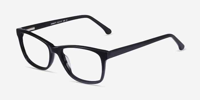 Annett Black Acetate Eyeglass Frames from EyeBuyDirect, Angle View