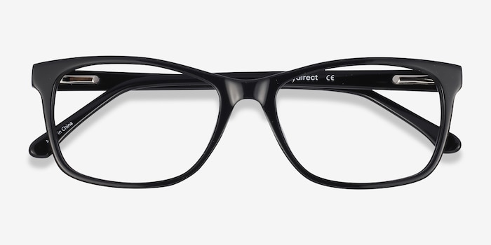 Annett Black Acetate Eyeglass Frames from EyeBuyDirect, Closed View