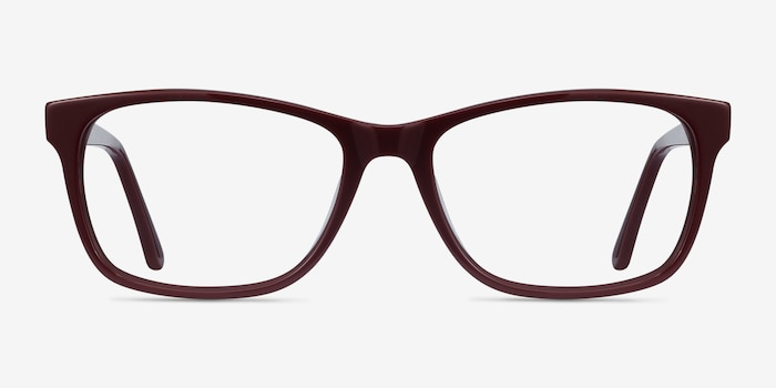 Annett Burgundy Acetate Eyeglass Frames from EyeBuyDirect, Front View