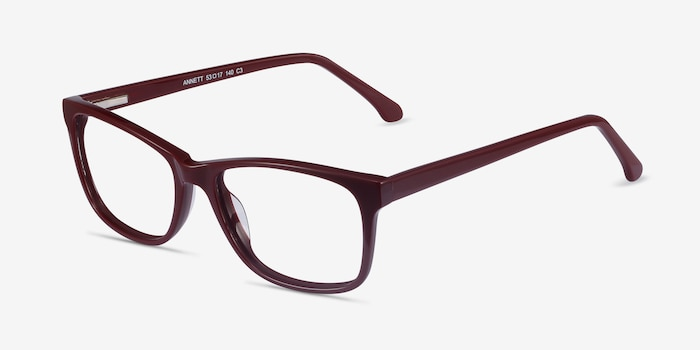 Annett Burgundy Acetate Eyeglass Frames from EyeBuyDirect, Angle View