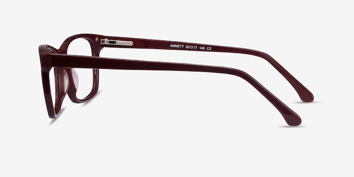 Annett Burgundy Acetate Eyeglass Frames from EyeBuyDirect, Side View