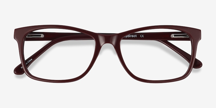 Annett Burgundy Acetate Eyeglass Frames from EyeBuyDirect, Closed View