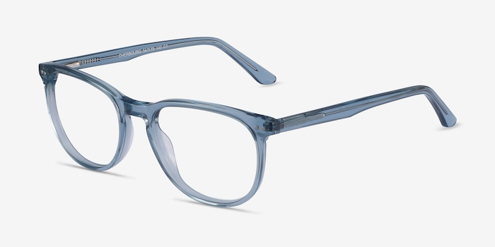 Cherbourg Clear Blue Acetate Eyeglass Frames from EyeBuyDirect, Angle View