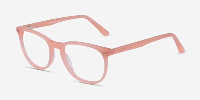 Cherbourg Coral Acetate Eyeglass Frames from EyeBuyDirect, Angle View