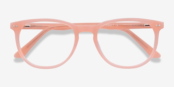 Cherbourg Coral Acetate Eyeglass Frames from EyeBuyDirect, Closed View