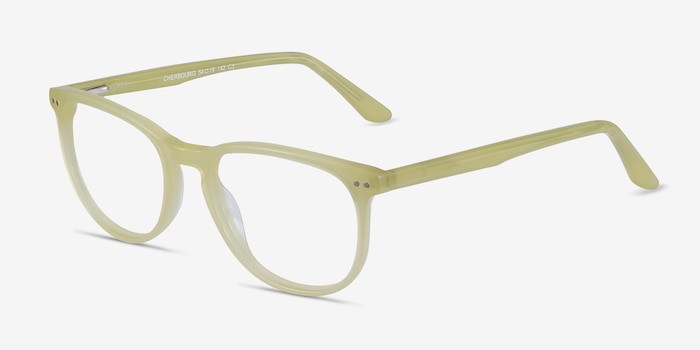 Cherbourg Lime Green Acétate Montures de Lunettes d'EyeBuyDirect, Vue d'Angle