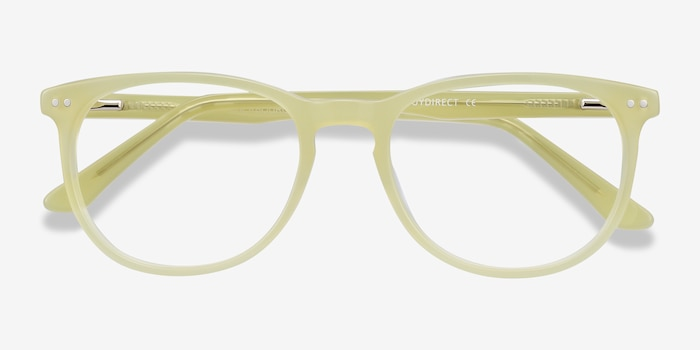 Cherbourg Lime Green Acetate Eyeglass Frames from EyeBuyDirect, Closed View