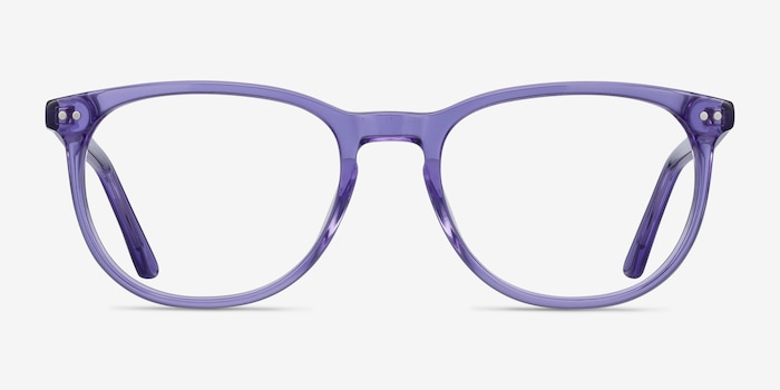 Cherbourg Purple Acetate Eyeglass Frames from EyeBuyDirect, Front View