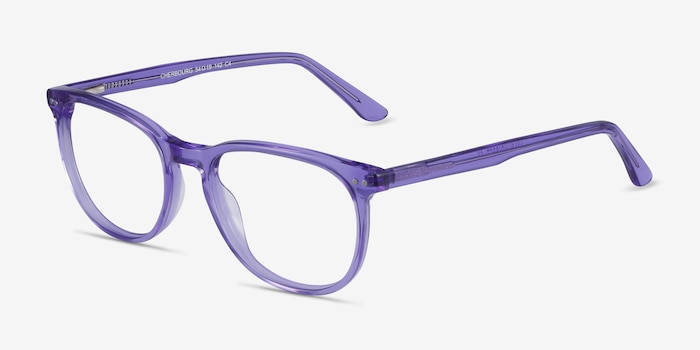 Cherbourg Purple Acetate Eyeglass Frames from EyeBuyDirect, Angle View