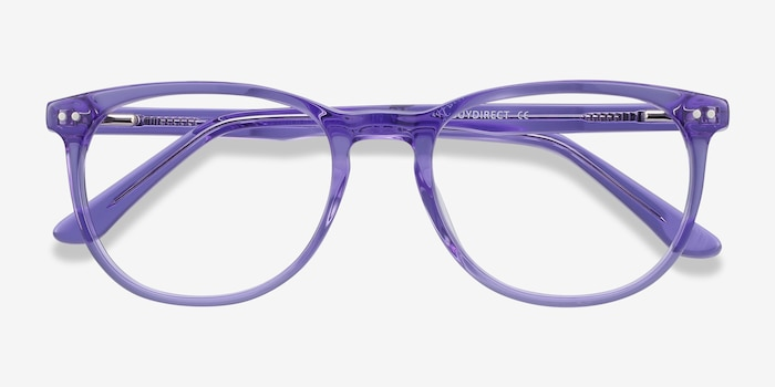 Cherbourg Purple Acetate Eyeglass Frames from EyeBuyDirect, Closed View