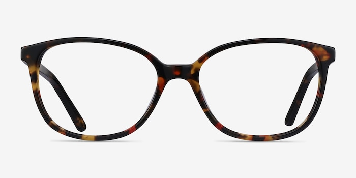 Thelma Tortoise Acetate Eyeglass Frames from EyeBuyDirect, Front View