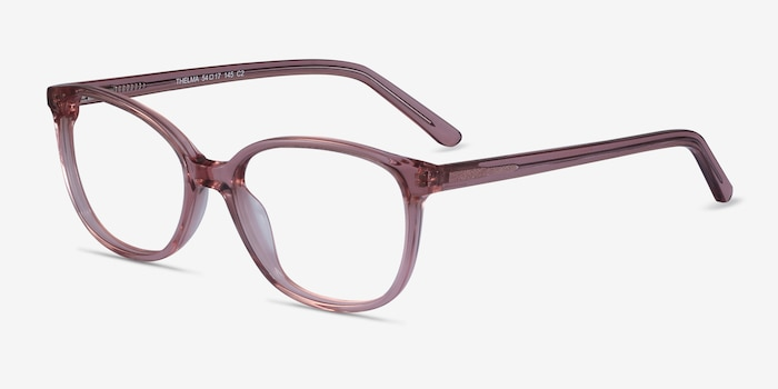 Thelma Pink Acetate Eyeglass Frames from EyeBuyDirect, Angle View