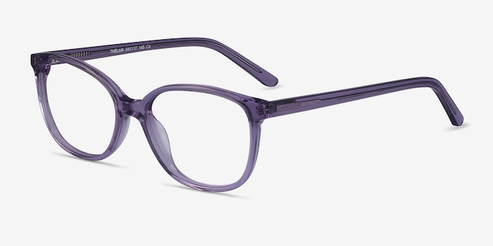 Thelma Purple Acetate Eyeglass Frames from EyeBuyDirect, Angle View