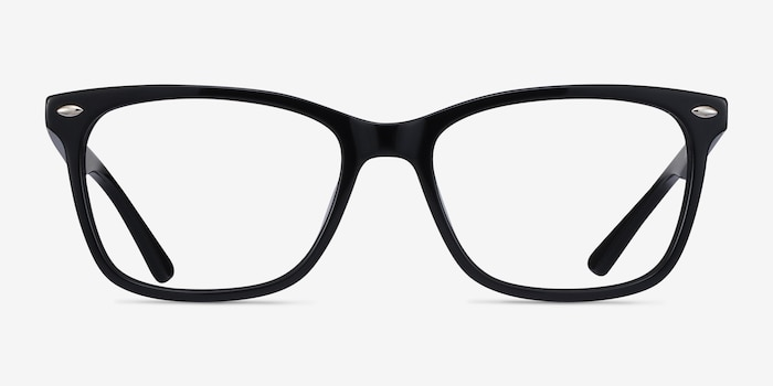 Varda Black Acetate Eyeglass Frames from EyeBuyDirect, Front View