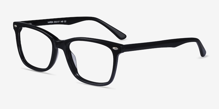 Varda Black Acetate Eyeglass Frames from EyeBuyDirect, Angle View