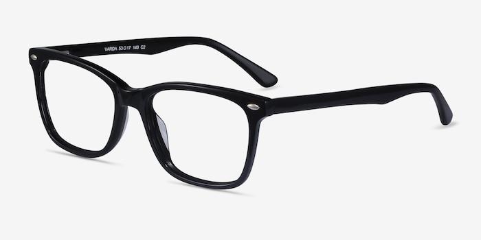 Varda Noir Acétate Montures de Lunette de vue d'EyeBuyDirect, Vue d'Angle