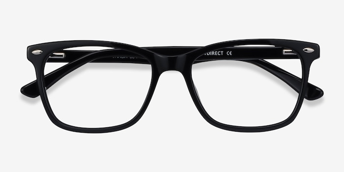 Varda Black Acetate Eyeglass Frames from EyeBuyDirect, Closed View