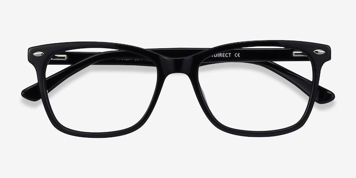 Varda Noir Acétate Montures de Lunette de vue d'EyeBuyDirect, Vue Rapprochée