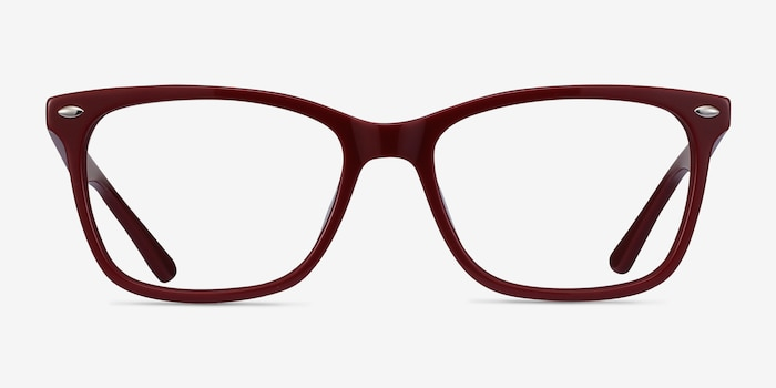 Varda Burgundy Acetate Eyeglass Frames from EyeBuyDirect, Front View