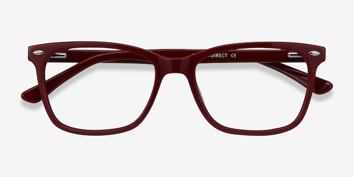 Varda Burgundy Acetate Eyeglass Frames from EyeBuyDirect, Closed View