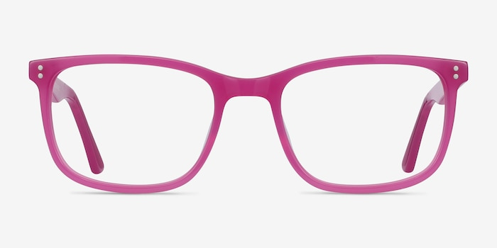Lugano Fuchsia Pink Acetate Eyeglass Frames from EyeBuyDirect, Front View