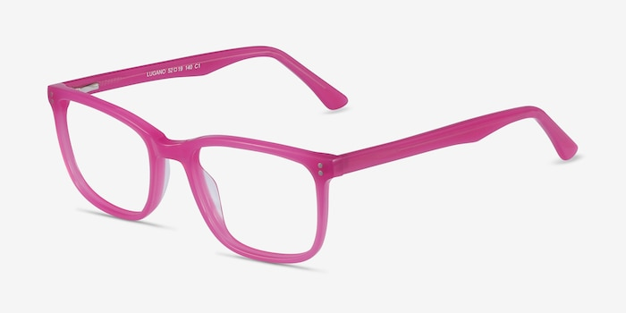 Lugano Fuchsia Pink Acetate Eyeglass Frames from EyeBuyDirect, Angle View