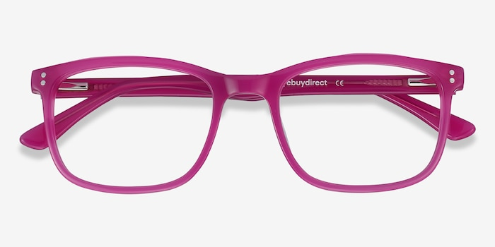 Lugano Fuchsia Pink Acetate Eyeglass Frames from EyeBuyDirect, Closed View