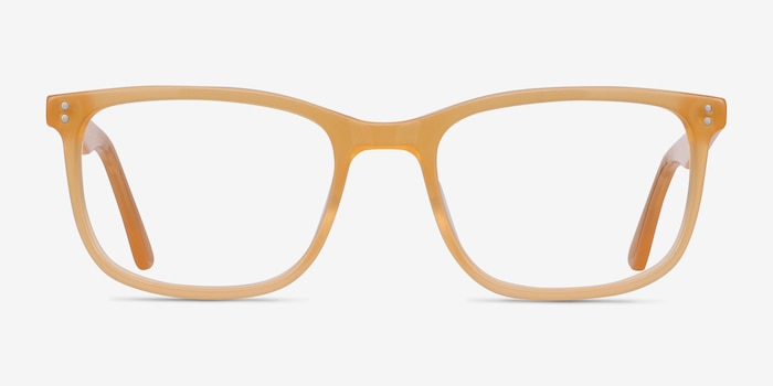 Lugano Light Orange Acetate Eyeglass Frames from EyeBuyDirect, Front View