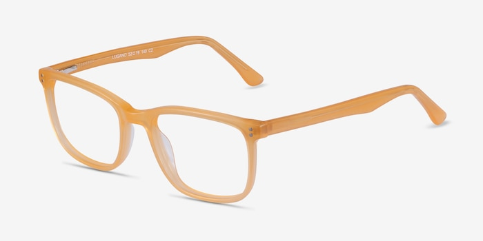 Lugano Light Orange Acetate Eyeglass Frames from EyeBuyDirect, Angle View