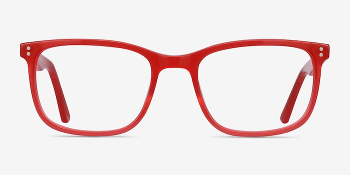 Lugano Red Acetate Eyeglass Frames from EyeBuyDirect, Front View