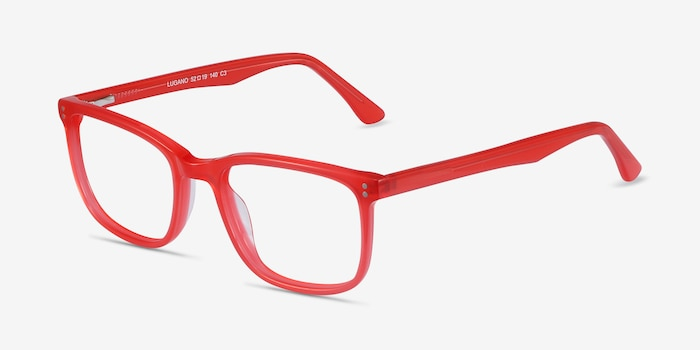 Lugano Red Acetate Eyeglass Frames from EyeBuyDirect, Angle View
