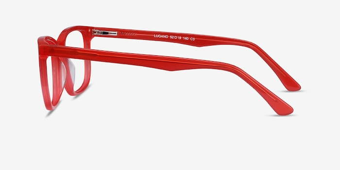 Lugano Red Acetate Eyeglass Frames from EyeBuyDirect, Side View