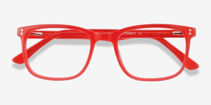 Lugano Red Acetate Eyeglass Frames from EyeBuyDirect, Closed View