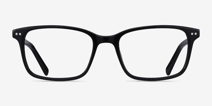 Basel Black Acetate Eyeglass Frames from EyeBuyDirect, Front View