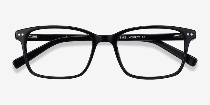 Basel Black Acetate Eyeglass Frames from EyeBuyDirect, Closed View