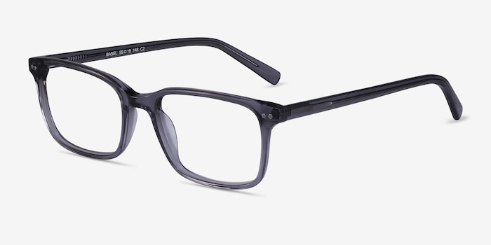 Basel Gray Acetate Eyeglass Frames from EyeBuyDirect, Angle View