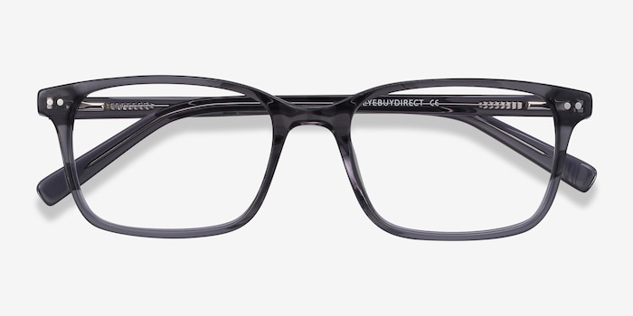 Basel Gray Acetate Eyeglass Frames from EyeBuyDirect, Closed View
